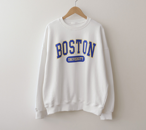 beige blanc-보스턴 프린팅 쭈리면 맨투맨]♡韓國女裝上衣