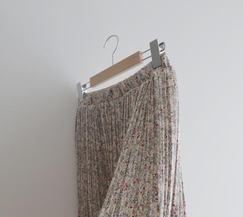 beige blanc-블룸 플라워 플리츠 롱 스커트]♡韓國女裝裙