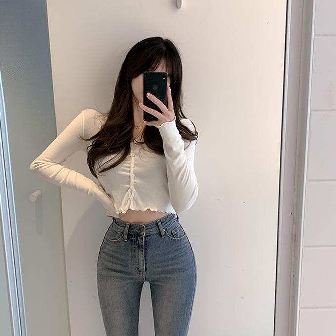 henique-뽀삐 프릴 크롭 브이넥 가디건 티셔츠 (아이보리/그레이/블루/블랙)♡韓國女裝外套