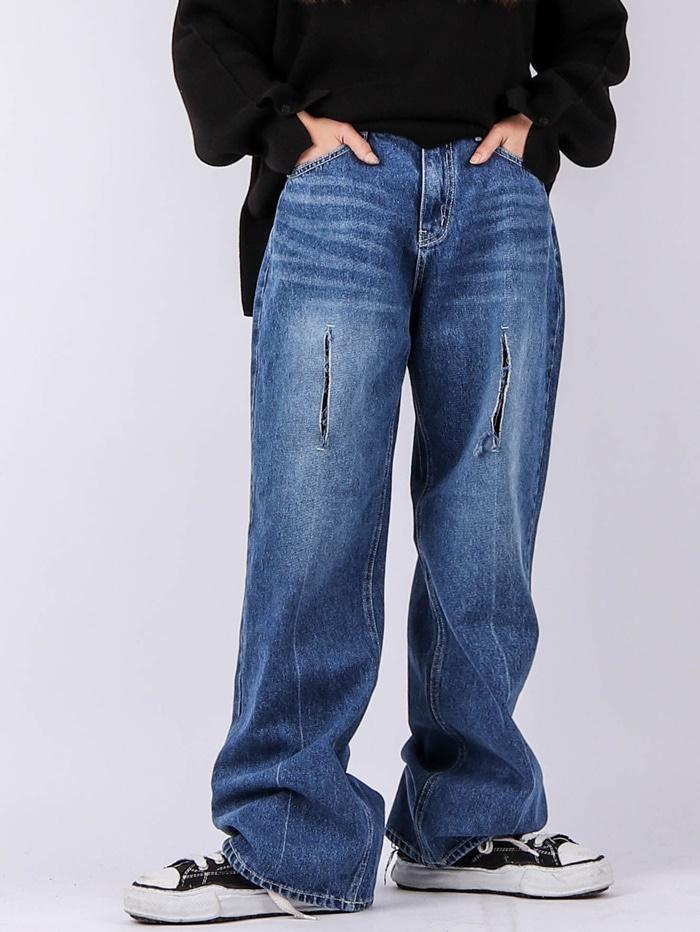 justyoung-MU Straight Cut Loom Jeans♡韓國男裝褲子