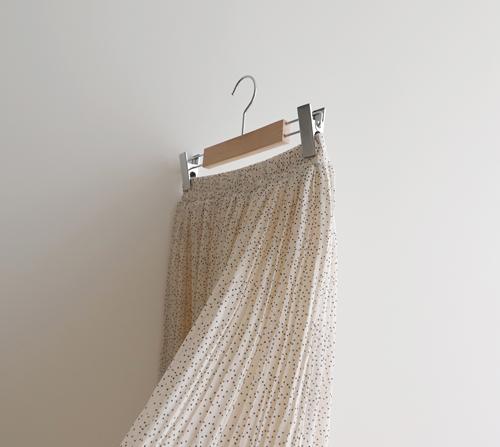 beige blanc-도트 플리츠 플레어 밴딩 스커트]♡韓國女裝裙