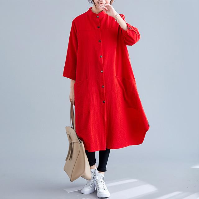 mythyella-스탠드 포켓 루즈핏 롱 셔츠♡韓國女裝外套