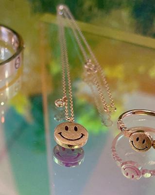 cocostory-[(제작 아이템) 14k 그레이러프 다이아 스마일 목걸이-웃을 일이 생기는 행복 아이템^^(리버시블)]♡韓國女裝飾品