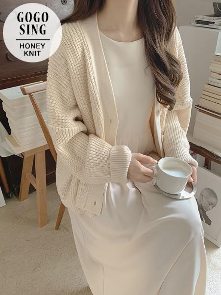 ggsing-루즈핏 브이넥 니트가디건 (7게이지4합,무료배송)♡韓國女裝外套