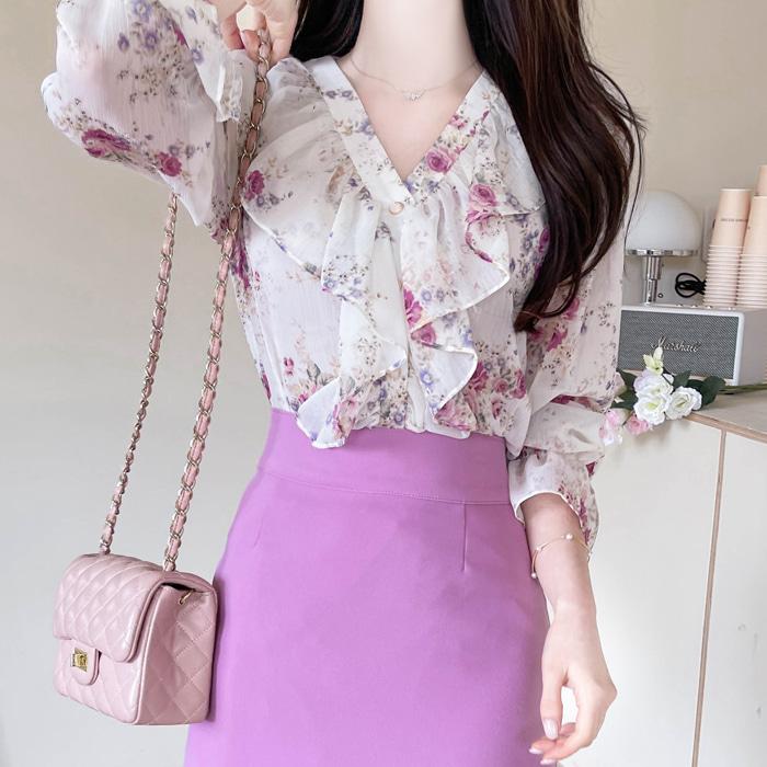 myfiona-슈에르 브이프릴 플라워 쉬폰블라우스 a1343 - 러블리 로맨틱룩 1위 쇼핑몰 피오나♡韓國女裝上衣