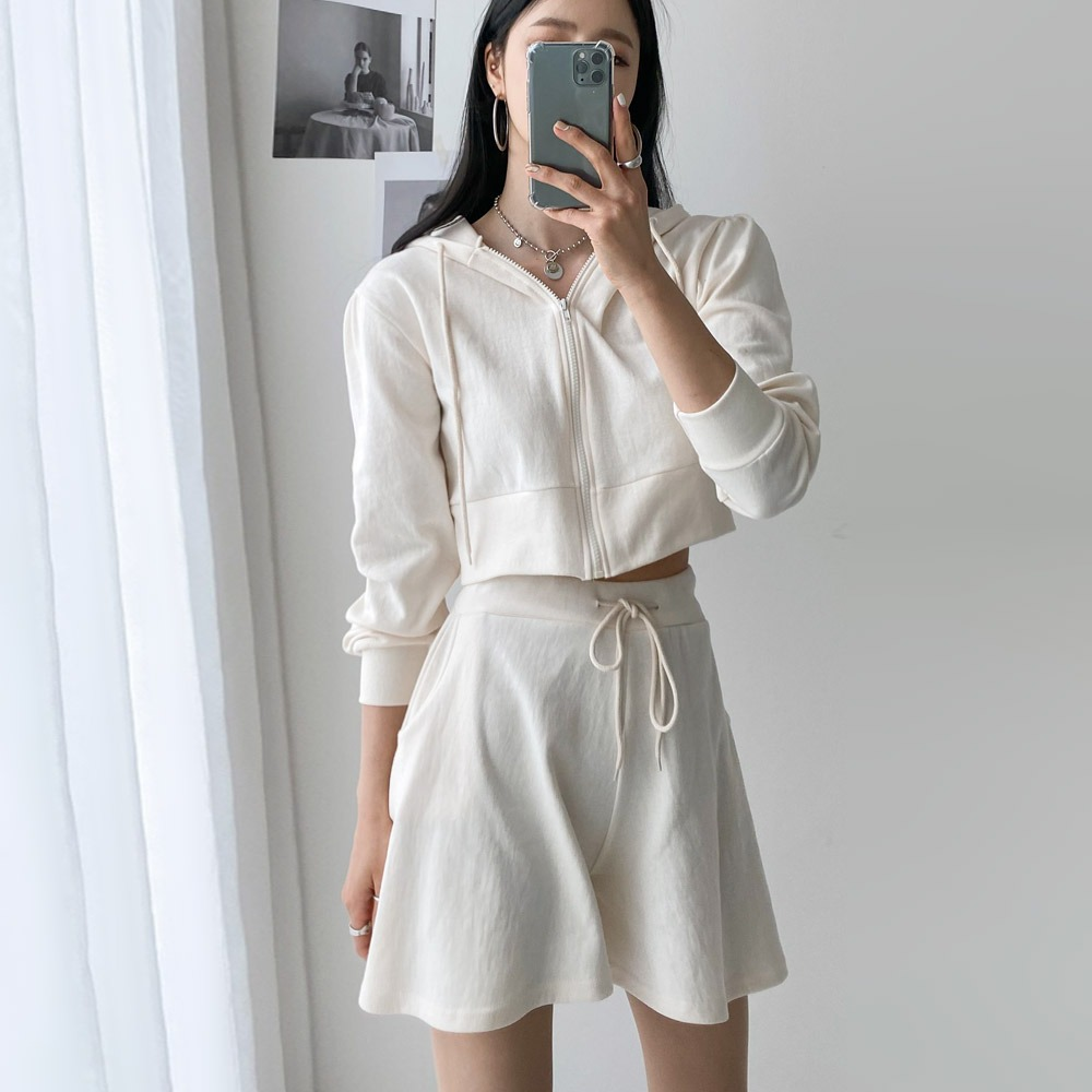 ppgirl-후드 플레어 하프팬츠 세트set G957♡韓國女裝套裝