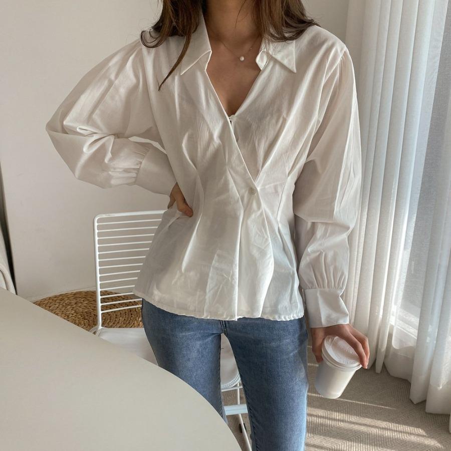 jjrella-타임 카라 랩 단추 핀턱 셔츠 블라우스♡韓國女裝上衣