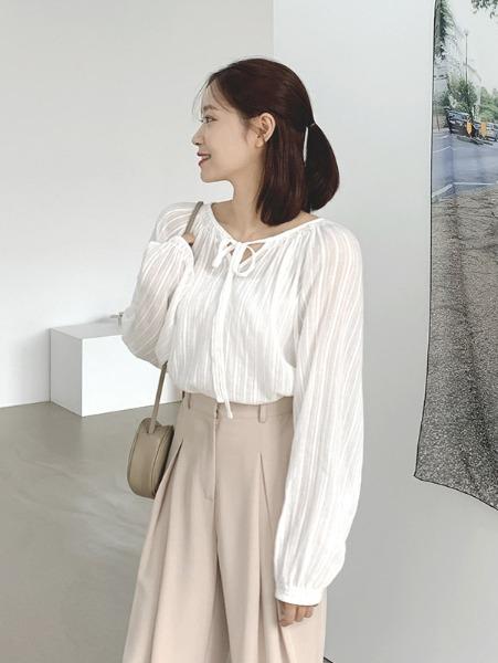 ggsing-[19일9시까지9%할인]퓨어 볼륨 블라우스 (리본,BL,무료배송)♡韓國女裝上衣