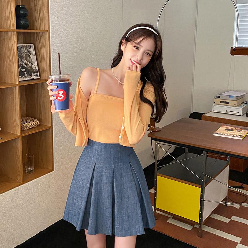 attrangs-ps2697 캐쥬얼한 무드의 핀턱 주름디자인 A라인 백밴딩 데님 미니 큐롯팬츠 pants♡韓國女裝褲
