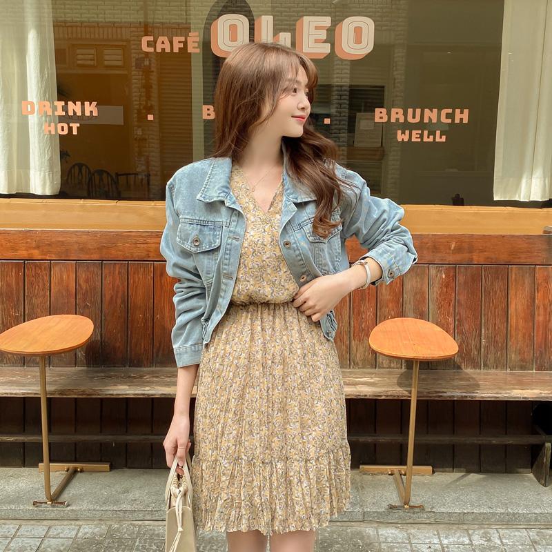 attrangs-jk1507 레이즈 밑단밴딩 슬림핏 데님숏자켓♡韓國女裝外套