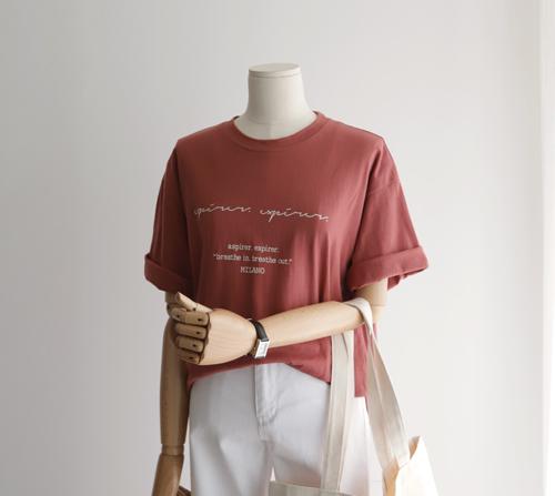 beige blanc-밀라노 레터링 라운드 반팔 티셔츠]♡韓國女裝上衣