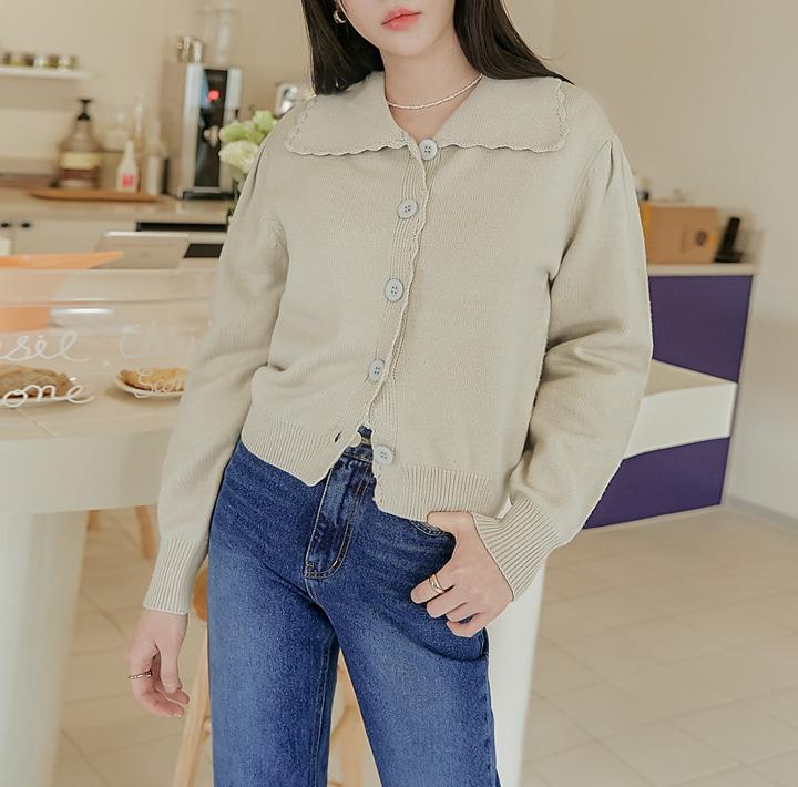 common-unique--오헨 웨이브 카라 니트 가디건♡韓國女裝外套
