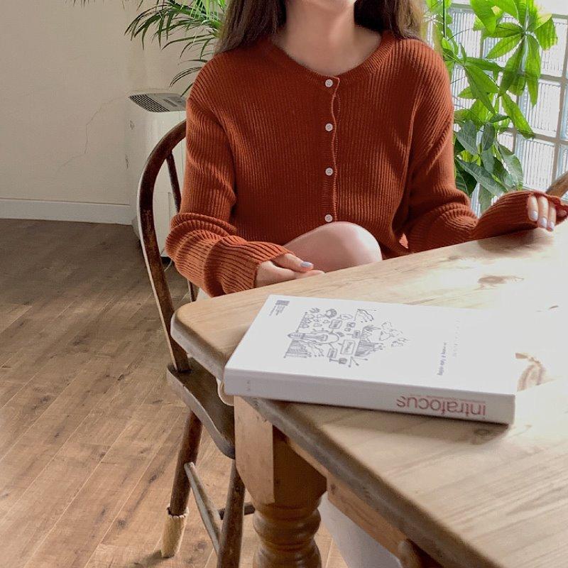 laurenhi-[Made Lauren]모아이 골지 라운드 니트 가디건 - 3 color♡韓國女裝外套
