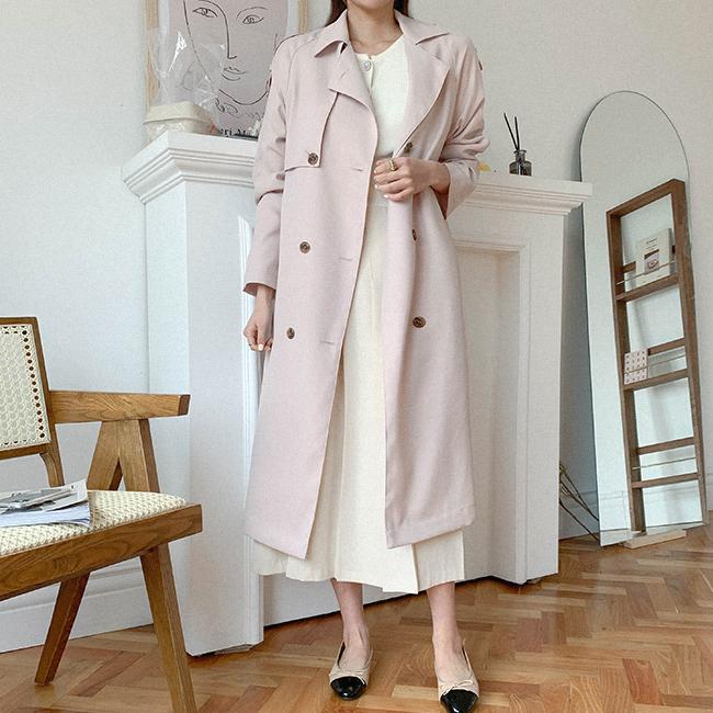 cherryville-[[4color]화사한탁트임 더블트렌치코트+벨트세트]♡韓國女裝外套