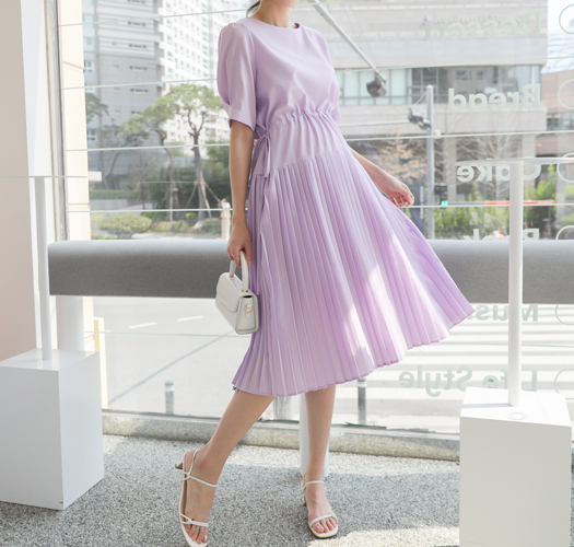 soim-[임부복*라벤더롱플리츠반팔 임산부원피스]♡韓國孕婦裝連身裙