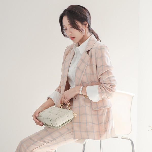 ode-[스프링 플래드 체크 테일러드 자켓]♡韓國女裝外套