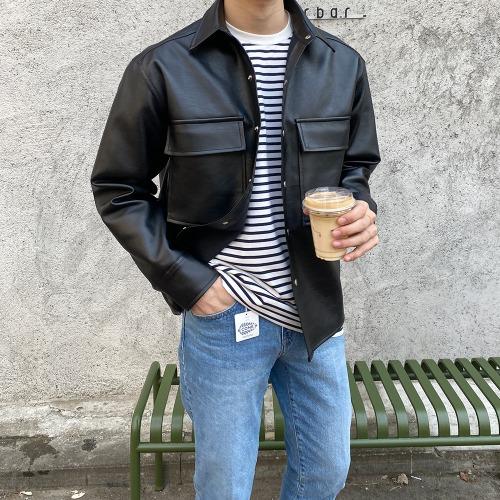 modernsweet-레더 셔츠 자켓 (크림/블랙) - 모던스윗(modernsweet)♡韓國男裝外套