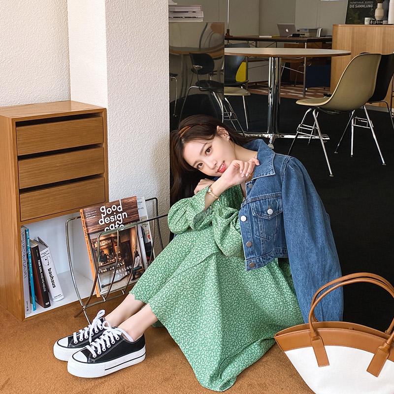 attrangs-jk1526 키치한 무드가 느껴지는 퍼프 숄더 크롭 데님 자켓 jacket♡韓國女裝外套