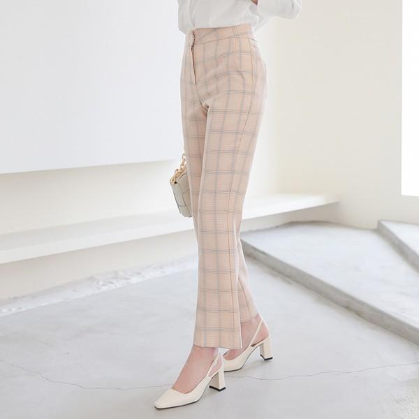 ode-[스프링 플래드 체크 스트레이트 슬랙스]♡韓國女裝褲