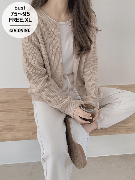 ggsing-[주말동안9%할인]샌드 니트 집업 (7게이지3합,가둘레,무료배송)♡韓國女裝外套