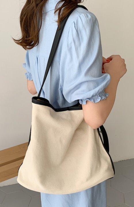 uniqueon-[당일출고]한나 탄탄 캔버스 스퀘어 가방 레자가죽끈 에코백 숄더백 크로스백♡韓國女裝袋