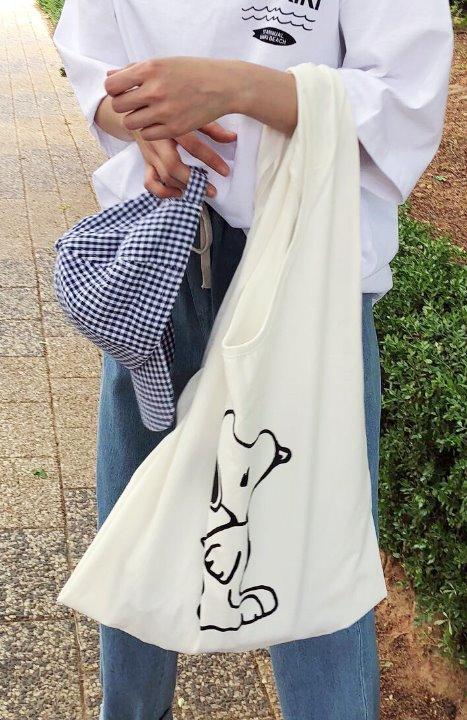 uniqueon-[당일출고]스누피 드로잉 코튼 가방 넉넉 숄더백 에코백♡韓國女裝袋
