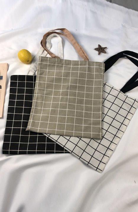 uniqueon-[당일출고]바둑판 체크 코튼 스퀘어가방 보조가방 숄더백 에코백♡韓國女裝袋