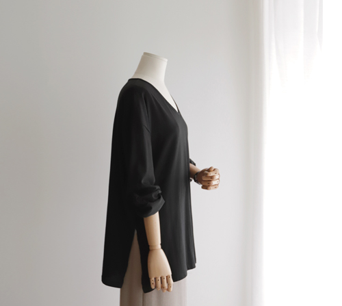 beige blanc-여리여리 바이오실켓 루즈핏 롱 티셔츠]♡韓國女裝上衣