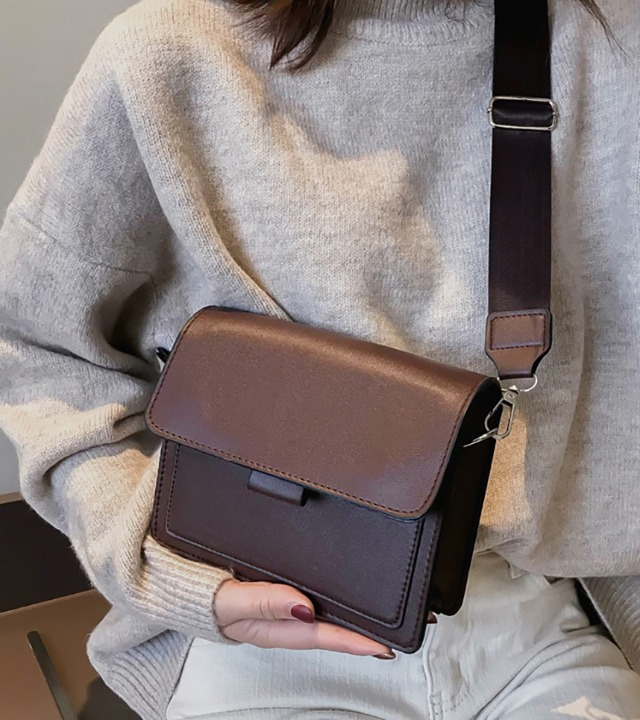 uniqueon-심플스퀘어 숄더백 가죽가방 크로스백 [Z1259]♡韓國女裝袋