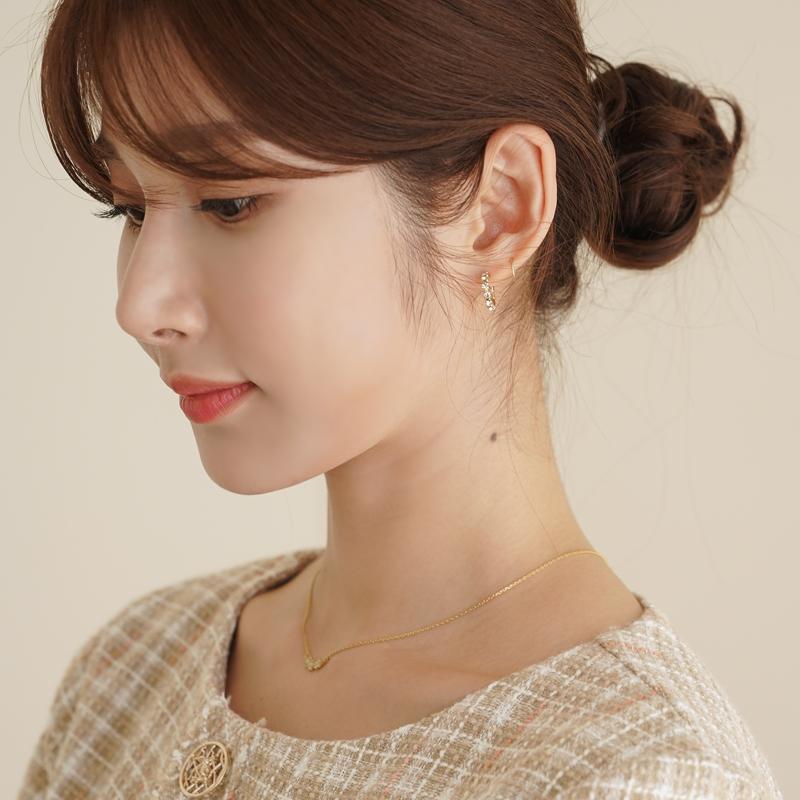 clicknfunny-[샤롱 큐빅귀걸이]♡韓國女裝飾品