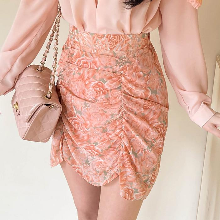 myfiona-겔랑 플라워 셔링스커트 a1352 - 러블리 로맨틱룩 1위 쇼핑몰 피오나♡韓國女裝裙