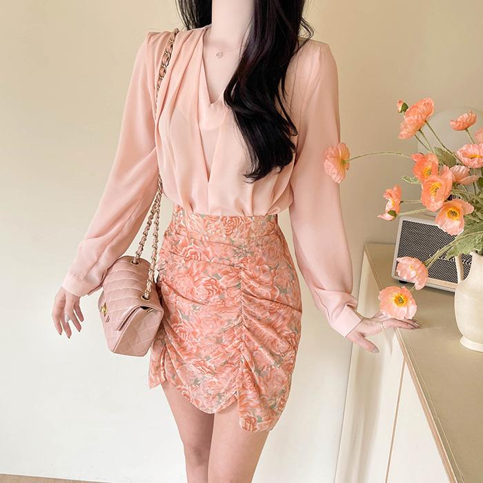 myfiona-라비앙 브이핀탁 쉬폰블라우스 a1351 - 러블리 로맨틱룩 1위 쇼핑몰 피오나♡韓國女裝上衣