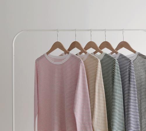 beige blanc-레이 스트라이프 얇은 긴팔 티셔츠]♡韓國女裝上衣