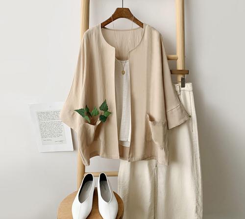 beige blanc-가볍게 툭 걸치는 라운드 숏 자켓]♡韓國女裝上衣