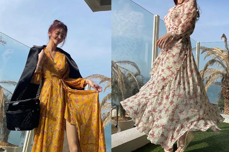 torishop-여신플로럴 쉬폰랩OPS (3color)♡韓國女裝連身裙