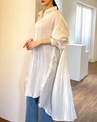 cocostory-[시스루 사이드 버튼 롱셔츠-섹시함과 오묘한 매력~!!]♡韓國女裝上衣
