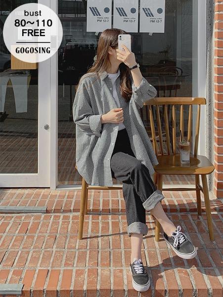 ggsing-[24일9시까지9%할인]룬 체크NB (셔츠,오버핏,무료배송)♡韓國女裝上衣