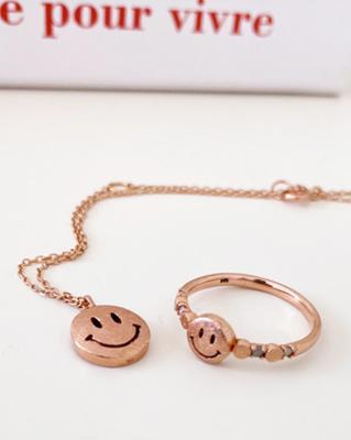 cocostory-[(제작 아이템) 14k 그레이러프 다이아 스마일 반지-웃을 일이 생기는 행복 아이템]♡韓國女裝飾品