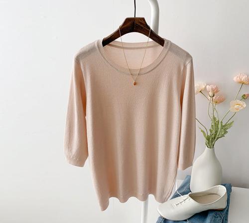 beige blanc-샤이니 펄 라운드 얇은 반팔 니트]♡韓國女裝上衣