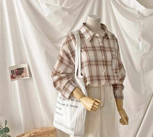 beige blanc-미드나잇 베이직 체크 셔츠]♡韓國女裝上衣