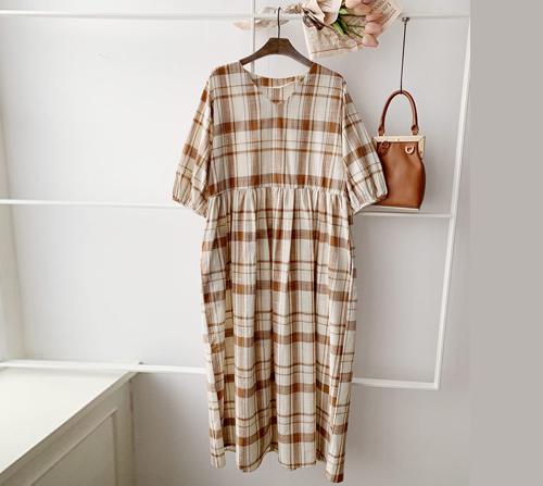 beige blanc-유니 루즈핏 퍼프소매 슬랍 체크 원피스]♡韓國女裝裙