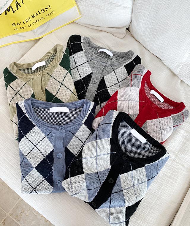 kikiko-사이즈딱아가일가디건♡韓國女裝外套