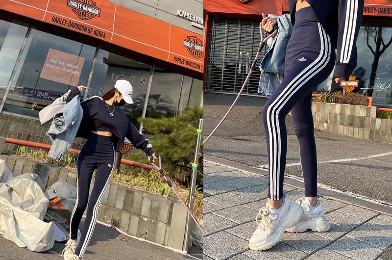 torishop-쓰리라인 자수데일리SET ◈티&레깅스세트(2color)♡韓國女裝套裝