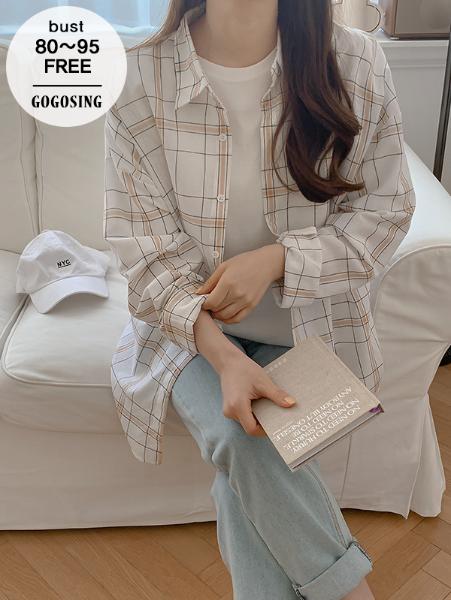 ggsing-[26일9시까지9%할인]크레페 거즈체크NB (셔츠,루즈핏,무료배송)♡韓國女裝上衣