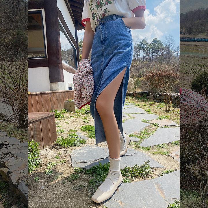 lagirl-데님원슬릿스커트-sk♡韓國女裝裙