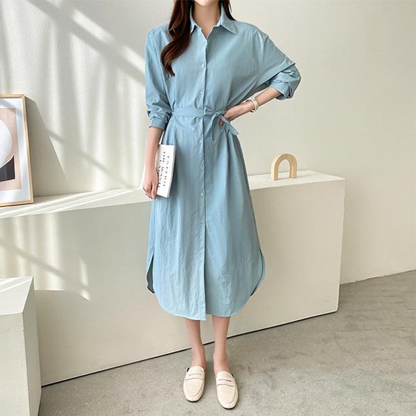 fashion-full-잇코 베이직 롱 셔츠 원피스♡韓國女裝連身裙