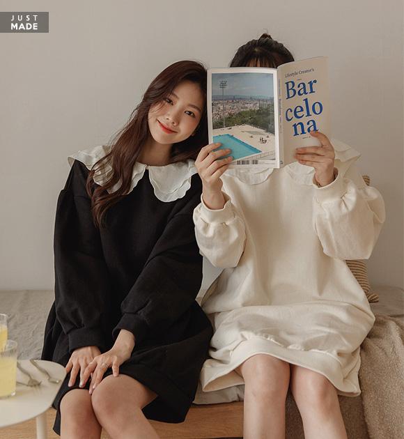 justone-에이미 이중 빅카라 쭈리원피스♡韓國女裝連身裙
