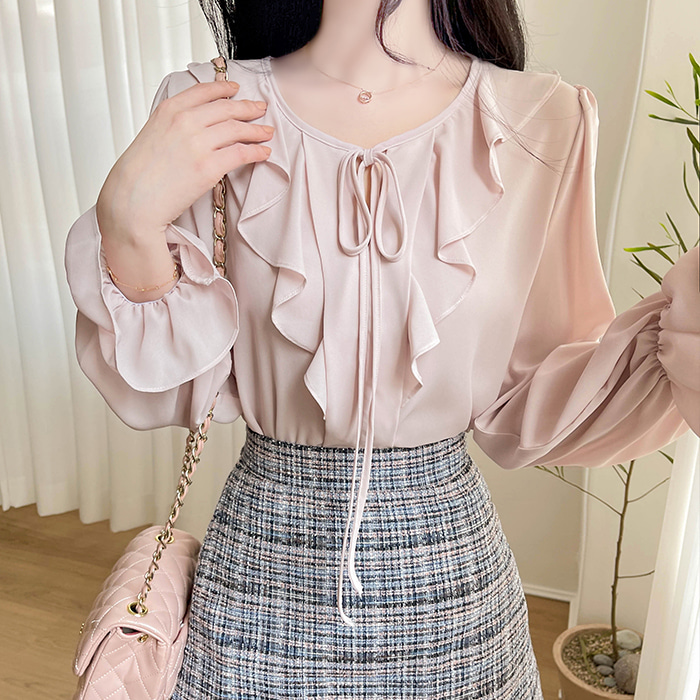 myfiona-블리어 러플 리본 쉬폰블라우스 a1295 - 러블리 로맨틱룩 1위 쇼핑몰 피오나♡韓國女裝上衣
