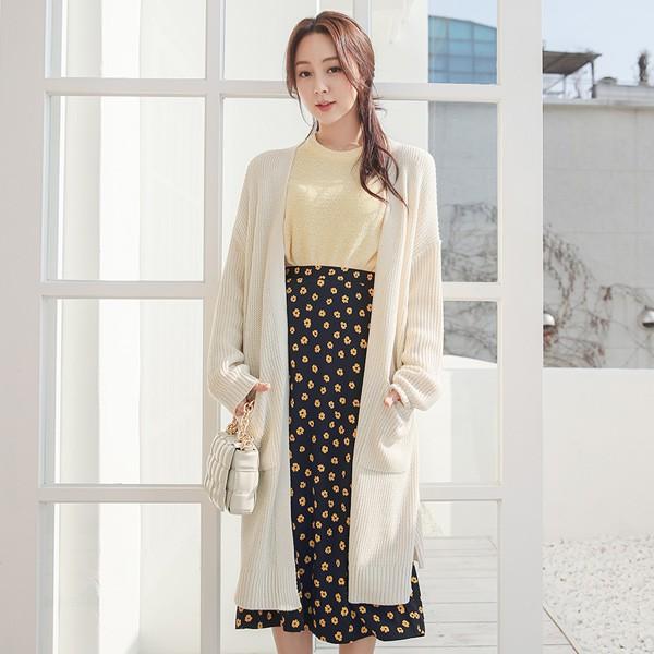 ode-[사이드 슬릿 하찌 오픈 롱 가디건]♡韓國女裝外套