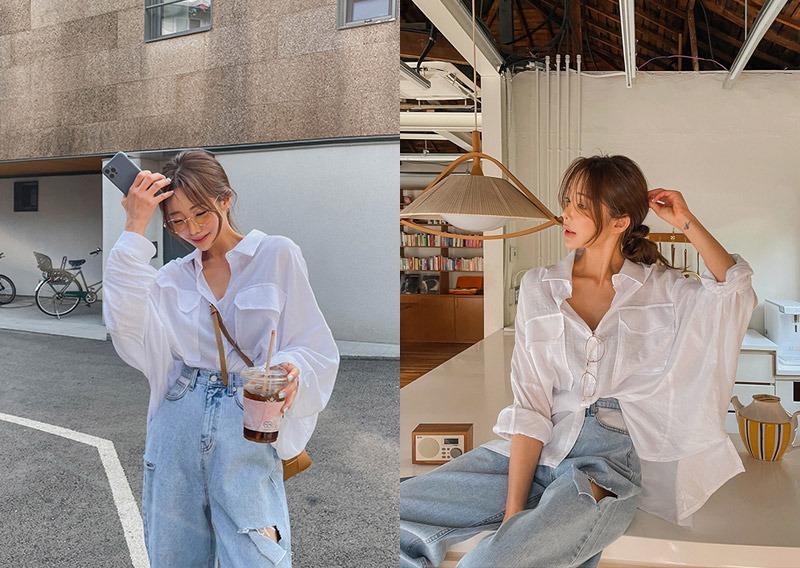 maybins-첸루 오버핏 셔츠♡韓國女裝上衣